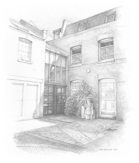 The offices of Christine Green Authors' Agent: drawing by Ceri Shields